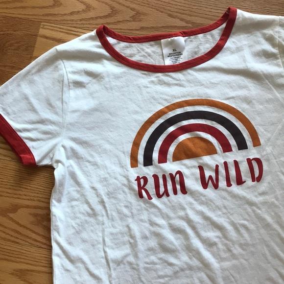 541b7a89acb38 Retro Run Wild Rainbow Ringer Tee NWOT
